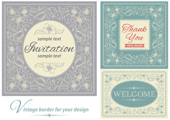 Vector vintage invitations and frames at retro style