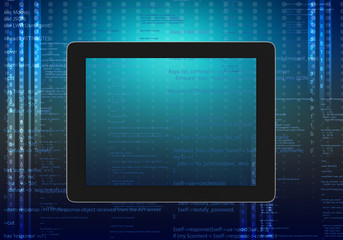 tablet computer code on an abstract background.