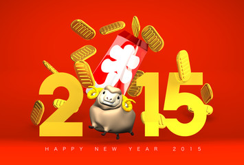 Brown Sheep And Full‐House Bonus, 2015, Greeting On Red