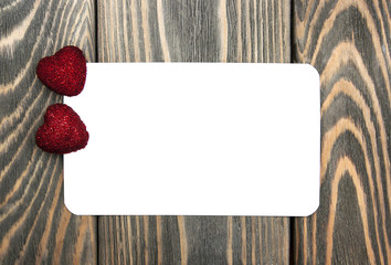 Two hearts and greeting card