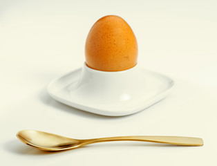 boiled egg with spoon