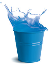 Bucket full of clear water with splashes. Isolated vector illust