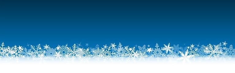 Bannière Bleue Noël, flocons de neige, étoiles