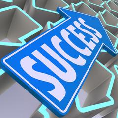 Success blue arrow