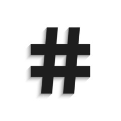 hashtag black icon with shadow isolated on white background