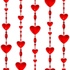 Seamless Valentine color background with red glass hearts
