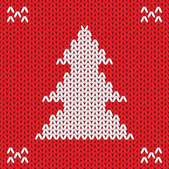 Christmas Knitted background with tree. Vector