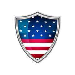 USA glossy label or badge on a white background