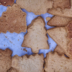 Christmas tree shaped cookies closeup