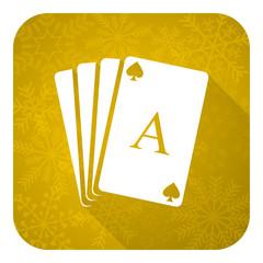 casino flat icon, gold christmas button, hazard sign