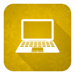 computer flat icon, gold christmas button, pc sign