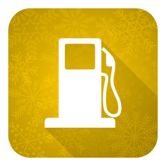 petrol flat icon, gold christmas button, gas station sign