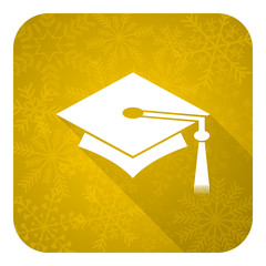 education flat icon, gold christmas button, graduation sign