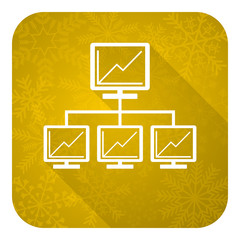 network flat icon, gold christmas button, lan sign