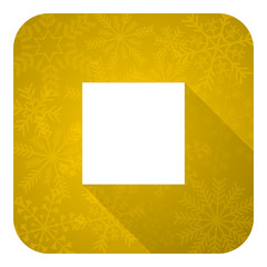 stop flat icon, gold christmas button