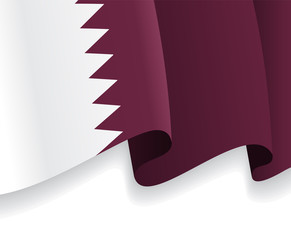 Background with waving Qatar Flag. Vector