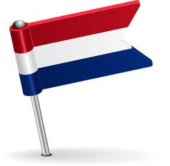 Dutch pin icon flag. Vector illustration