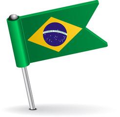 Brazilian pin icon flag. Vector illustration