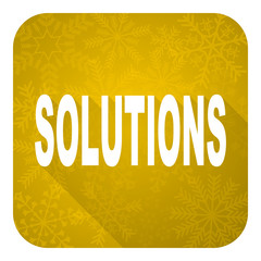 solutions flat icon, gold christmas button