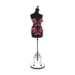 vector vintage tailor's mannequin with size measurements