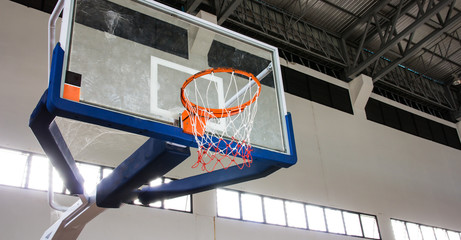 Basketball hoop in the  gym