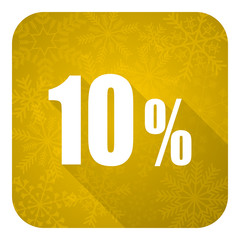 10 percent flat icon, gold christmas button, sale sign