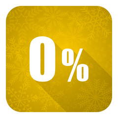 0 percent flat icon, gold christmas button, sale sign