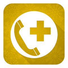 emergency call flat icon, gold christmas button