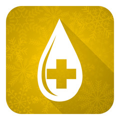 blood flat icon, gold christmas button