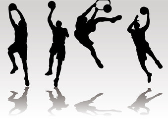 basketball player slam dunk shadow Silhouette