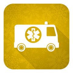 ambulance flat icon, gold christmas button