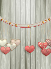 Red hearts hanging over old wood. EPS 10