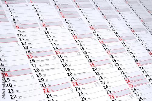 Leinwanddruck Bild Jahresplanung