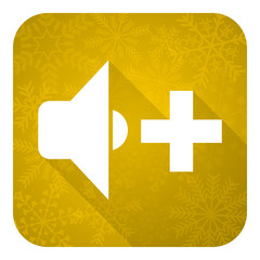 speaker volume flat icon, gold christmas button, music sign