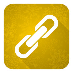 link flat icon, gold christmas button, chain sign