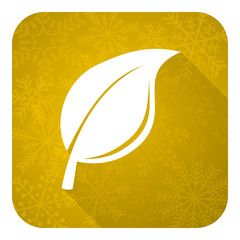 nature flat icon, gold christmas button, leaf sign