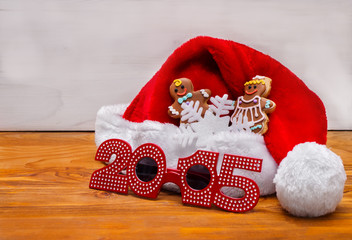 Santa hats and Christmas cookies.
