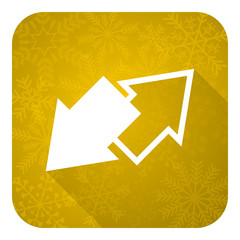 exchange flat icon, gold christmas button