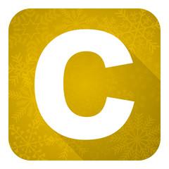 copyright flat icon, gold christmas button