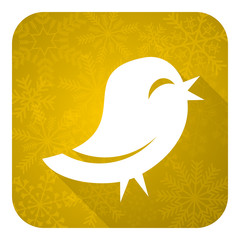 twitter flat icon, gold christmas button