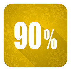 90 percent flat icon, gold christmas button, sale sign