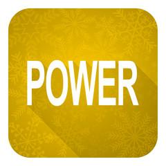 power flat icon, gold christmas button