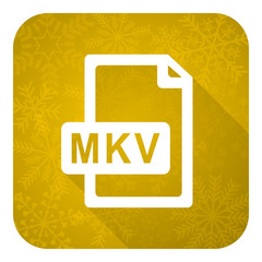 mkv file flat icon, gold christmas button