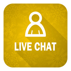 live chat flat icon, gold christmas button