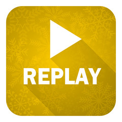 replay flat icon, gold christmas button