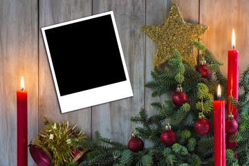 Fondo de Navidad con espacio para fotos o texto y velas