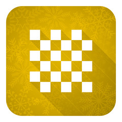 chess flat icon, gold christmas button
