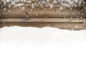 Wood with snow