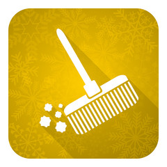 broom flat icon, gold christmas button, clean sign
