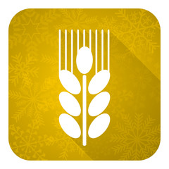 grain flat icon, gold christmas button, agriculture sign